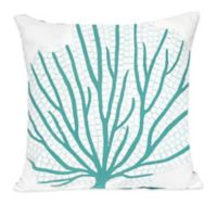 Liora Manne Coral Fan 20-Inch x 20-Inch Outdoor Throw Pillow in Aqua