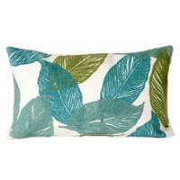 Liora Manne Mystic Leaf 12-Inch x 20-Inch Outdoor Throw Pillow in Aqua
