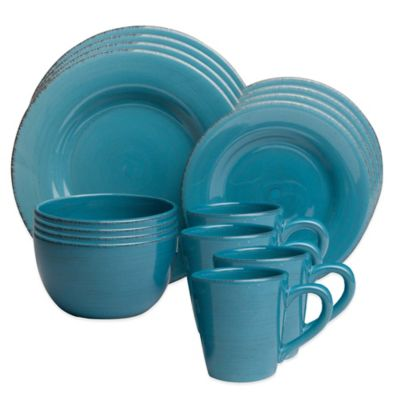 Sonoma 16-Piece Dinnerware Set in Turquoise  sc 1 st  Bed Bath \u0026 Beyond : turquoise dinnerware - pezcame.com