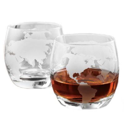 wine enthusiast etched globe whiskey glasses set of 2 - Whiskey Glass Set
