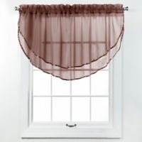 Elegance Voile Layered Ascot Valance in Chocolate
