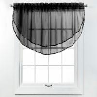 Elegance Voile Layered Ascot Valance in Onyx