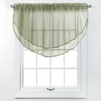 Elegance Voile Layered Ascot Valance in Sage