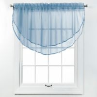 Elegance Voile Layered Ascot Valance in Smoke Blue