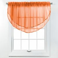 Elegance Voile Layered Ascot Valance in Tangerine