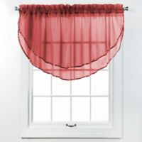 Elegance Voile Layered Ascot Valance in Cranberry
