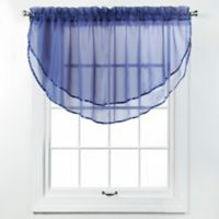 Elegance Voile Layered Ascot Valance in Cobalt