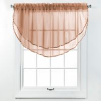 Elegance Voile Layered Ascot Valance in Mocha
