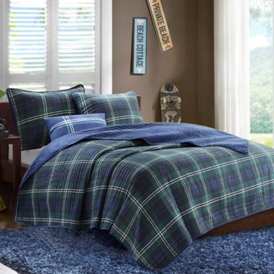 mizone brody twintwin xl coverlet set in blue - Plaid Comforter