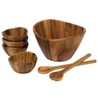 Lipper International 7-Piece Acacia Wave Salad Serving Set