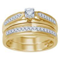 10K Yellow Gold .50 cttw Round-Cut Diamond Size 7 Ladies' Bridal Set