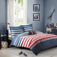 Mizone Kyle Full/Queen Comforter Set in Red/Blue