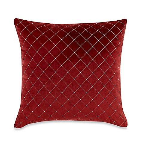 Throw Pillow Covers Bed Bath Beyond : MYOP Quilted Diamond Square Throw Pillow Cover in Red - Bed Bath & Beyond