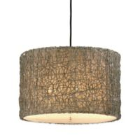 Uttermost Knotted Rattan 3-Light Ceiling-Mount Drum Pendant in Brown