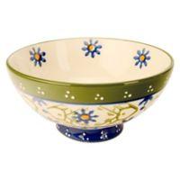 Global Handpainted Utility Bowl in Cream/Green/Multi