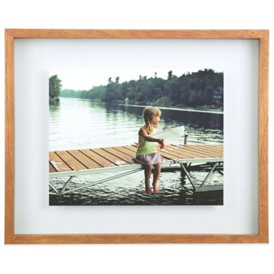 umbra float 11 inch x 14 inch wood picture frame in walnut
