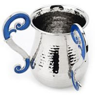 Classic Touch Large Hammered Stainless Steel Wash Cup in Blue/White
