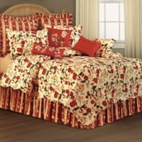 Red Carlisle Floral Reversible Twin Quilt