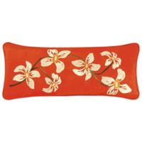 Red Carlisle Embroidered Flower Oblong Pillow