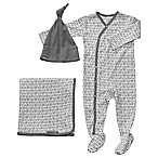 Petunia Pickle Bottom® Size 0-3M 3-Piece Organic Cotton Snuggle Set in Grey Cursive Print