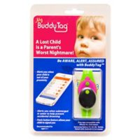 BuddyTag™ Child Safety Silicone Wristband in Green/Pink
