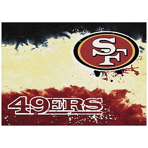 Nfl san francisco 49ers fade area rug bed bath beyond for 49ers bathroom decor