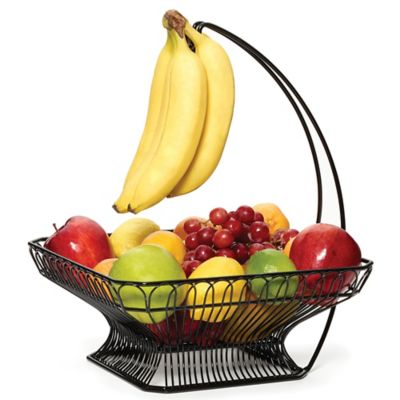 gourmet basics by mikasa french countryside fruit basket with banana hook