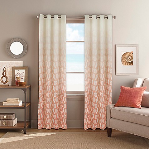 Seascape Grommet Top Window Curtain Panel In Coral Bed