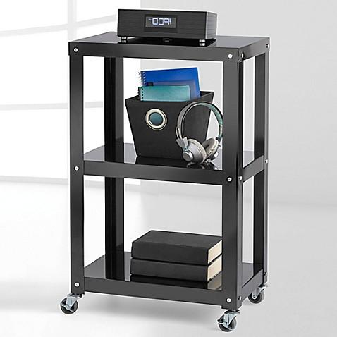 3 tier metal shelving book case organizer storage decor shelves with wheels cart ebay. Black Bedroom Furniture Sets. Home Design Ideas