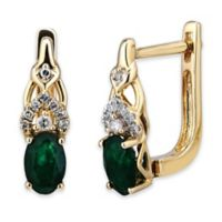 10K Yellow Gold .10 cttw Diamond and Oval Emerald Drop Hoop Earrings