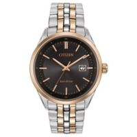 Citizen Eco-Drive Men's 41mm Black Dial Watch in Two-Tone Stainless Steel