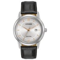 Citizen Eco-Drive Men's 39mm Rose Gold Accent Dial Watch with Black Leather Strap