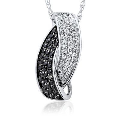 Buy 10k black white diamond pendant from bed bath beyond 10k white gold 32 cttw black and white diamond 18 inch chain interlocking pendant aloadofball Choice Image