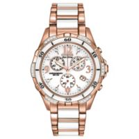 Citizen Eco-Drive Ceramic 40mm Diamond-Accented Chronograph Watch in Rose Goldtone Stainless Steel