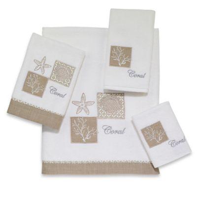 Avanti Metallic Shell Fingertip Towel in White