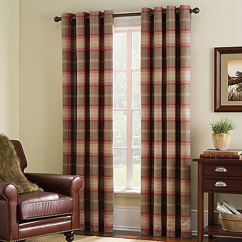 Highland Check Grommet Top Window Curtain Panel Bed Bath