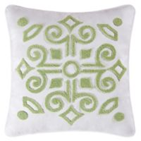 Boxwood Abby Tufted Square Throw Pillow in Green/White
