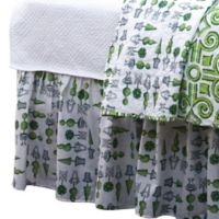 Boxwood Abby Twin Bed Skirt in Green/White