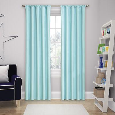 Beautiful Solar Shield Microfiber Rod Pocket 63 Inch Room Darkening Window Curtain  Panel In Blue