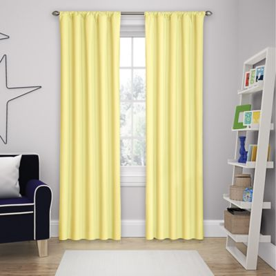 solar shield microfiber rod pocket 63inch room darkening window curtain panel in yellow - Room Darkening Curtains