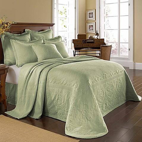 king charles matelassé bedspread in sage - bed bath & beyond