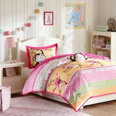 mizone kids monkey business 4piece fullqueen comforter set in pink