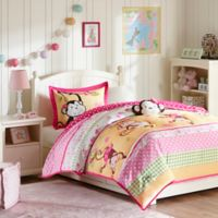 Mizone Kids Monkey Business 4-Piece Full/Queen Comforter Set in Pink
