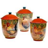 Certified International Rustic Rooster 3-Piece Canister Set