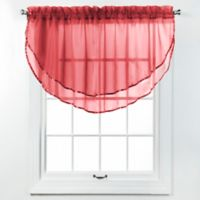 Elegance Voile Layered Ascot Valance in Claret