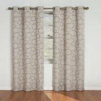 SolarShield® Sphere Grommet Top 63-Inch Room Darkening Window Curtain Panel in Linen