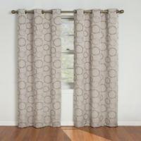 SolarShield® Sphere Grommet Top 63-Inch Room Darkening Window Curtain Panel in Linen