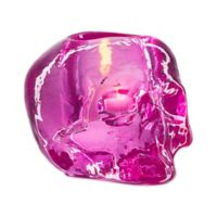 Kosta Boda Still Life Skull Votive Holder in Pink