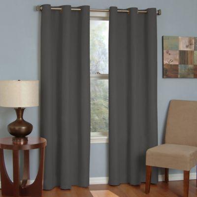SolarShield® Mandalay Grommet 63 Inch Room Darkening Window Curtain Panel  In Charcoal