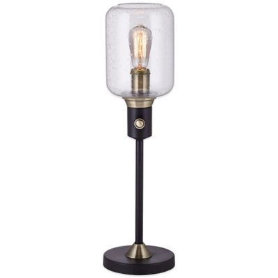 Uplight Hurricane Table Lamp in Black with Glass Shade. Buy Table Lamps Bedroom from Bed Bath   Beyond